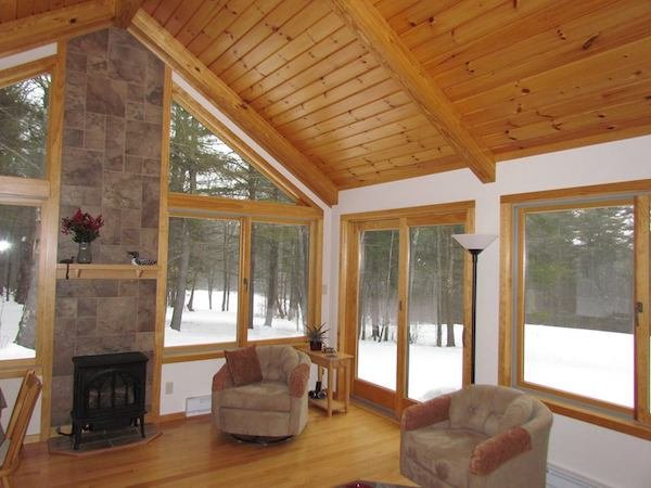 DIY Sunroom Kit Gable Style with Solid Roof and Fireplace
