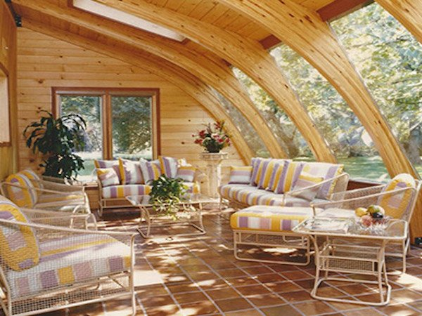 Four-Season Sunroom Kit with Wooden Arches and Skylights